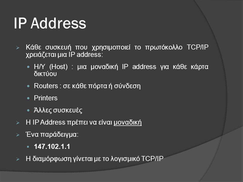 IP Address Κάθε συσκευή που χρησιμοποιεί το πρωτόκολλο TCP/IP χρειάζεται μια IP address: