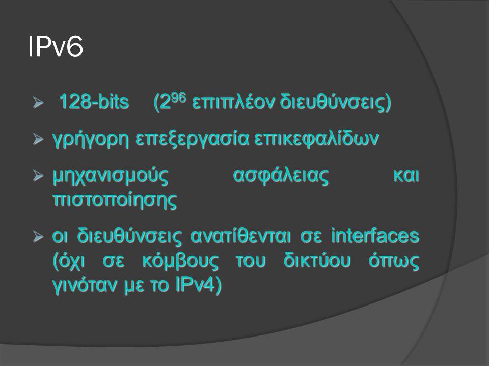 IPv6 128-bits (296 επιπλέον διευθύνσεις)
