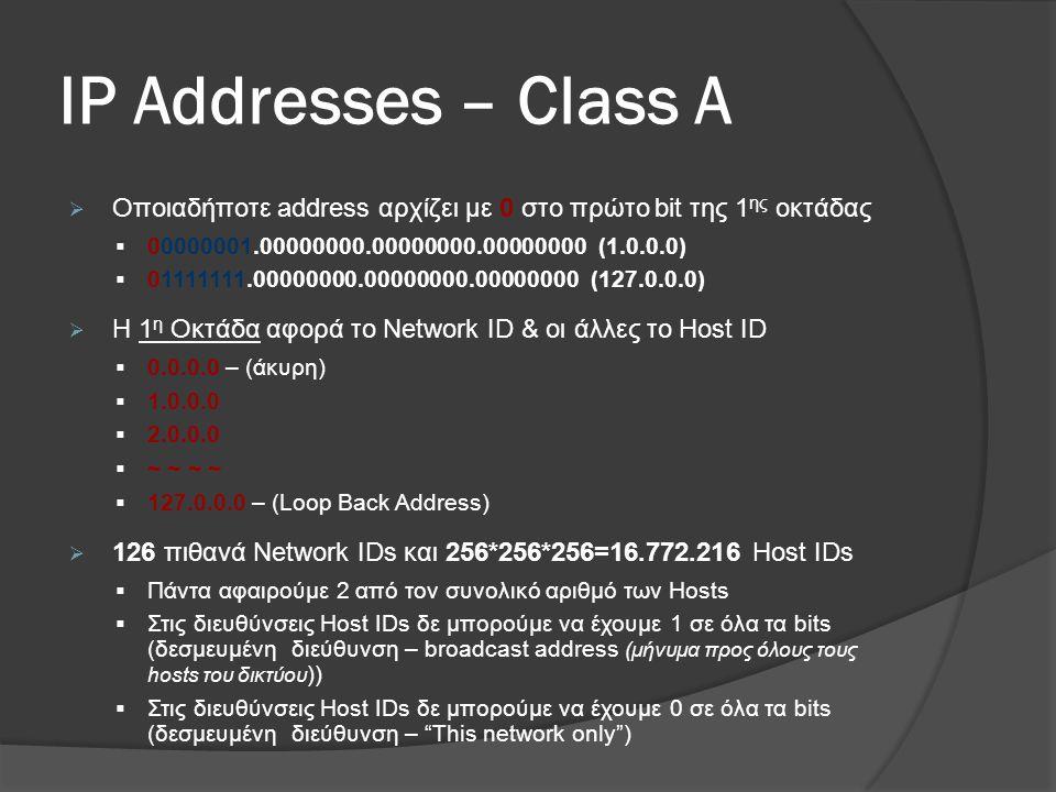 ΙP Addresses – Class A Οποιαδήποτε address αρχίζει με 0 στο πρώτο bit της 1ης οκτάδας. 00000001.00000000.00000000.00000000 (1.0.0.0)