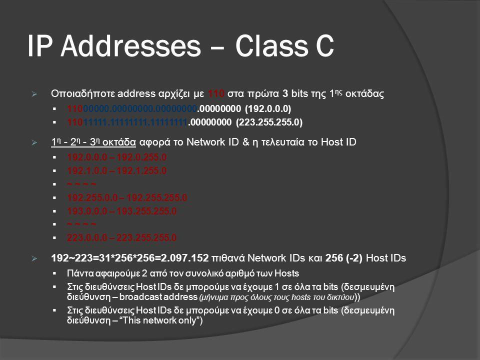 ΙP Addresses – Class C Οποιαδήποτε address αρχίζει με 110 στα πρώτα 3 bits της 1ης οκτάδας. 11000000.00000000.00000000.00000000 (192.0.0.0)