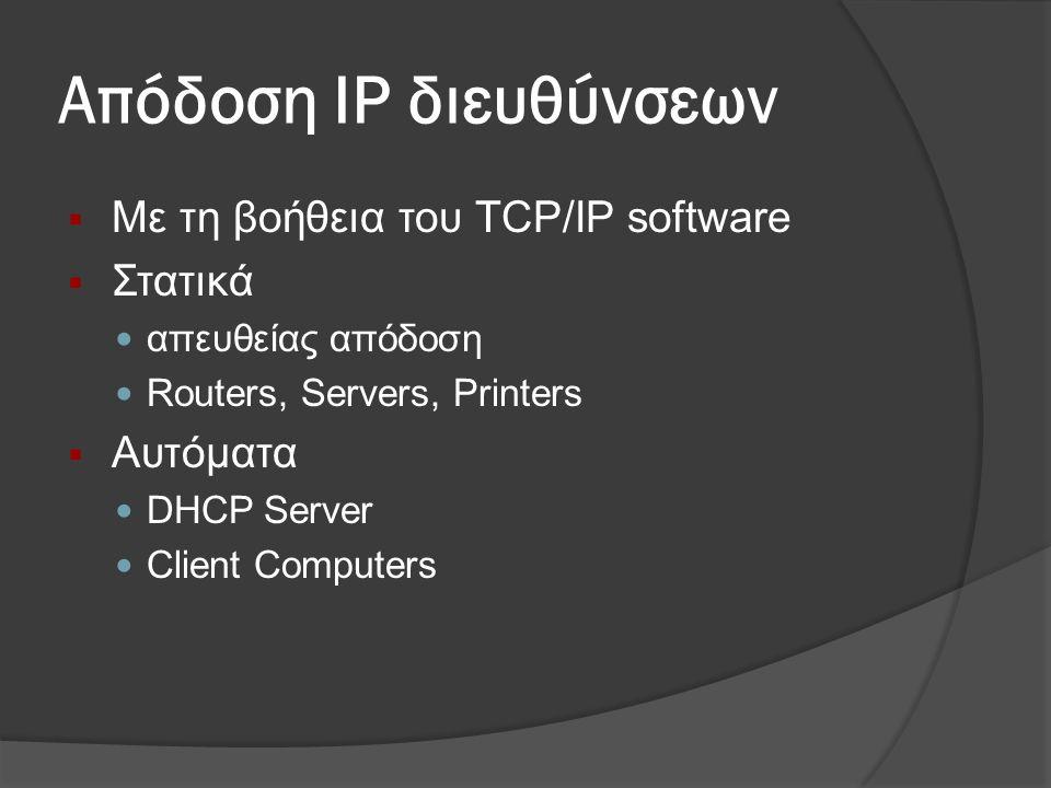 Απόδοση IP διευθύνσεων