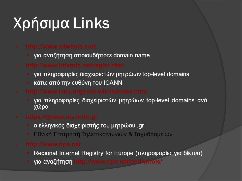 Χρήσιμα Links http://www.allwhois.com