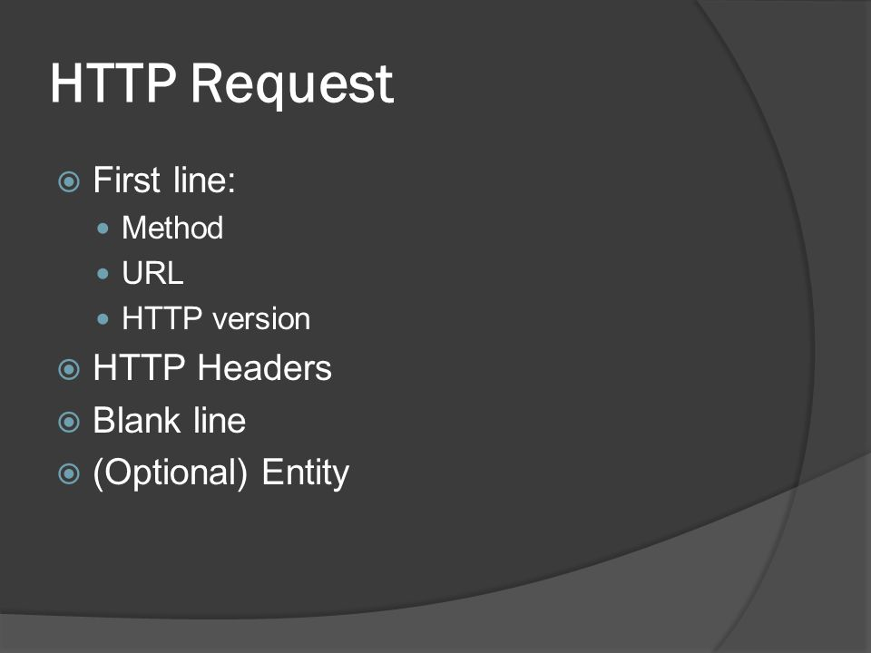 HTTP Request First line: HTTP Headers Blank line (Optional) Entity
