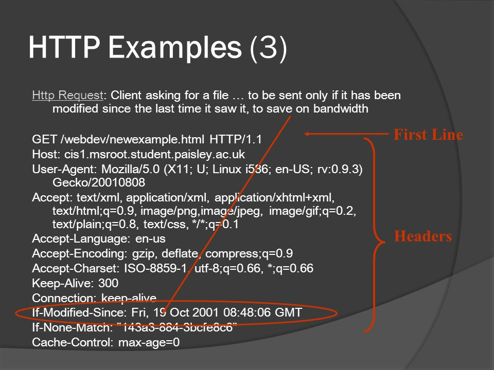 HTTP Examples (3) First Line Headers