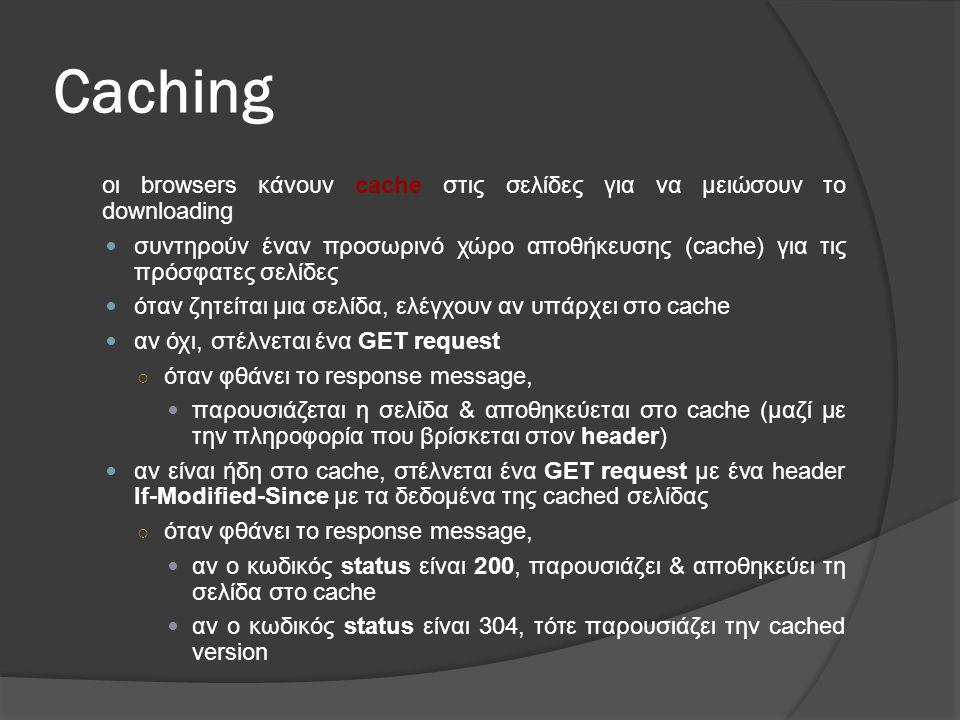 Caching οι browsers κάνουν cache στις σελίδες για να μειώσουν το downloading.