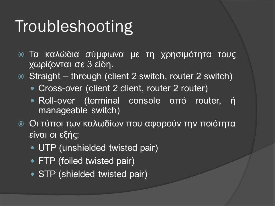 Troubleshooting Τα καλώδια σύμφωνα με τη χρησιμότητα τους χωρίζονται σε 3 είδη. Straight – through (client 2 switch, router 2 switch)