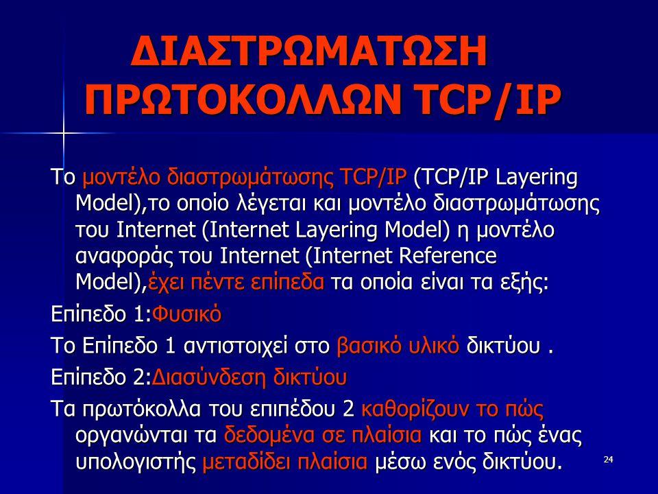 ΔΙΑΣΤΡΩΜΑΤΩΣΗ ΠΡΩΤΟΚΟΛΛΩΝ TCP/IP