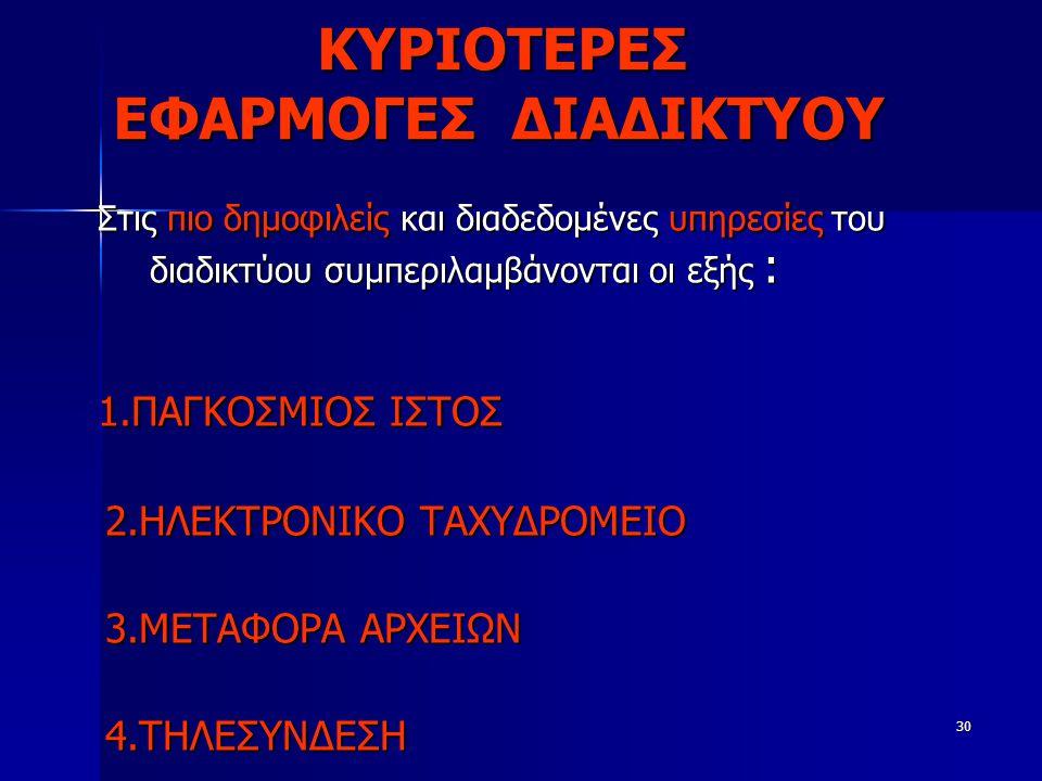 ΚΥΡΙΟΤΕΡΕΣ ΕΦΑΡΜΟΓΕΣ ΔΙΑΔΙΚΤΥΟΥ