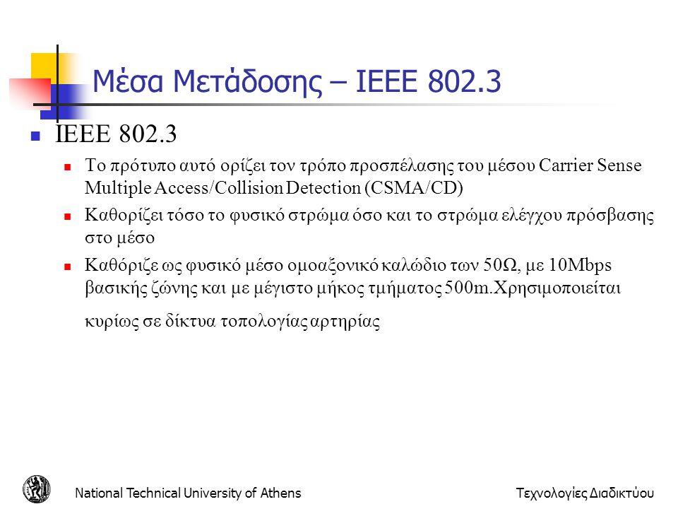 Μέσα Μετάδοσης – IEEE 802.3 ΙΕΕΕ 802.3