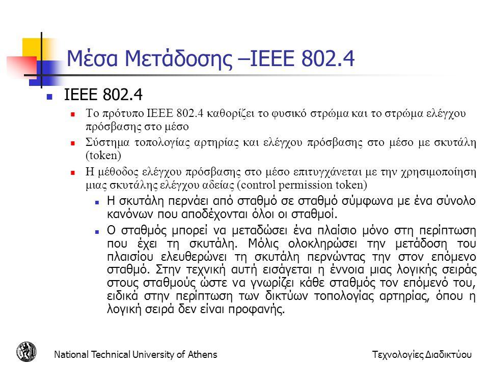 Μέσα Μετάδοσης –ΙΕΕΕ 802.4 IEEE 802.4