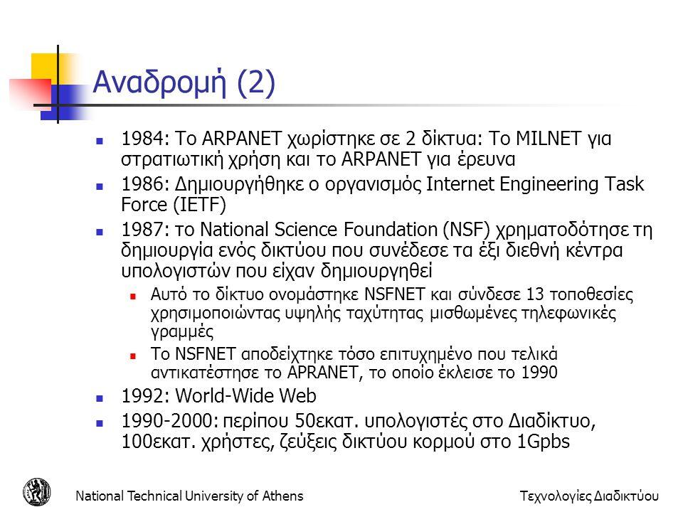 Αναδρομή (2) 1984: Το ARPANET χωρίστηκε σε 2 δίκτυα: Το MILNET για στρατιωτική χρήση και το ARPANET για έρευνα.