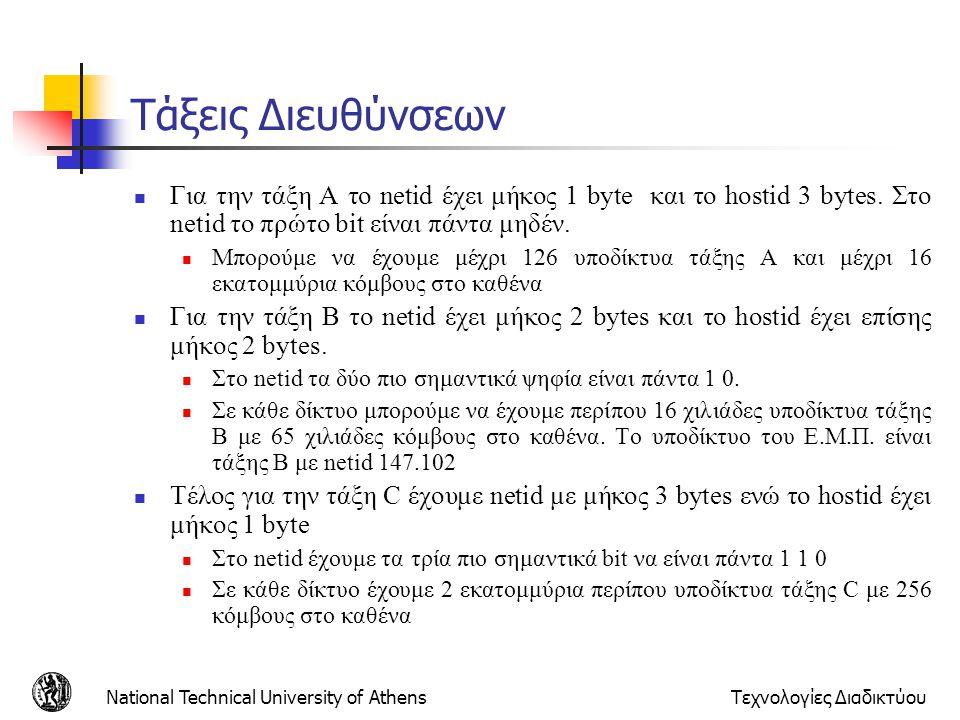 Τάξεις Διευθύνσεων Για την τάξη Α το netid έχει μήκος 1 byte και το hostid 3 bytes. Στο netid το πρώτο bit είναι πάντα μηδέν.