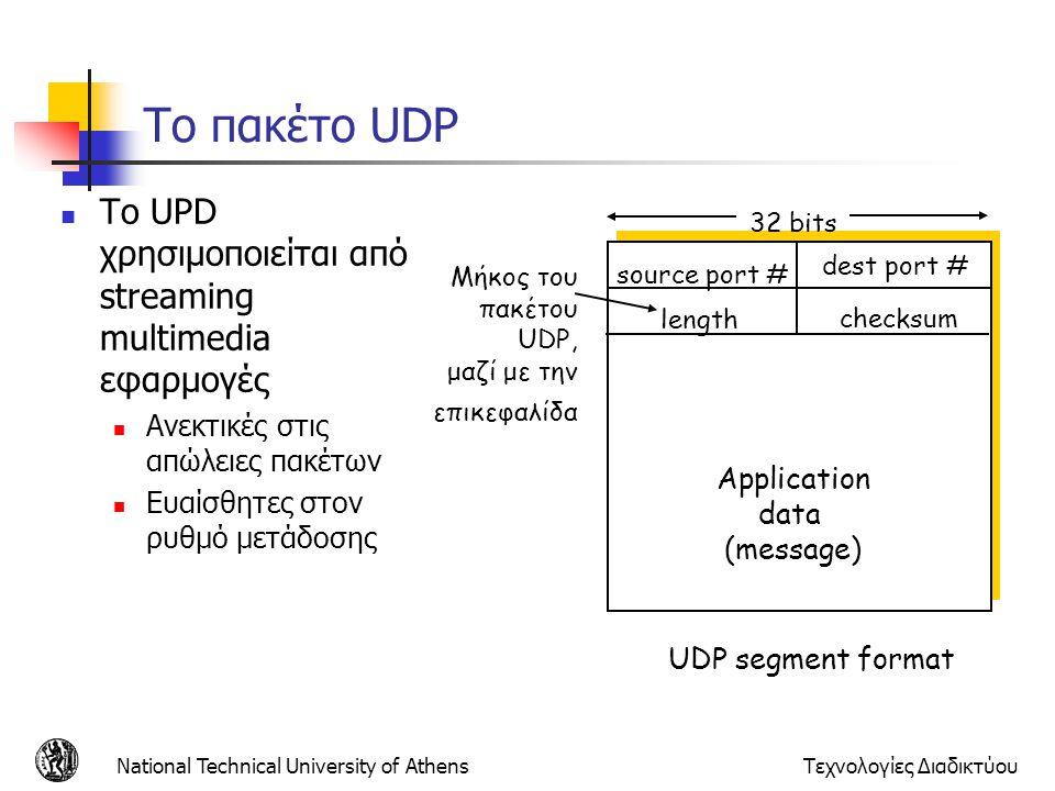 Το πακέτο UDP Το UPD χρησιμοποιείται από streaming multimedia εφαρμογές. Ανεκτικές στις απώλειες πακέτων.