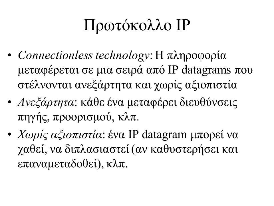 Πρωτόκολλο IP Connectionless technology: Η πληροφορία μεταφέρεται σε μια σειρά από IP datagrams που στέλνονται ανεξάρτητα και χωρίς αξιοπιστία.