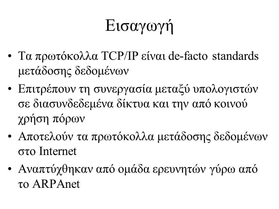 Εισαγωγή Τα πρωτόκολλα TCP/IP είναι de-facto standards μετάδοσης δεδομένων.
