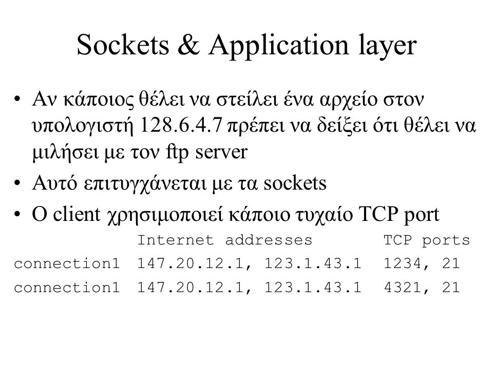 Sockets & Application layer