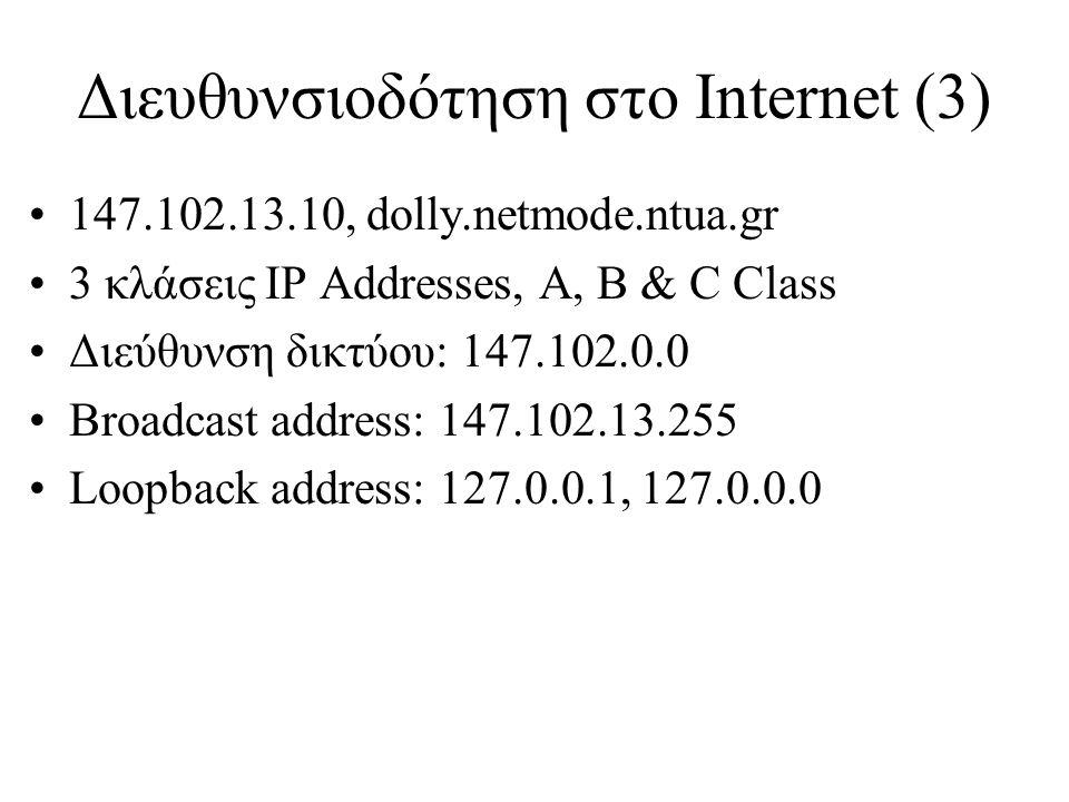 Διευθυνσιοδότηση στο Internet (3)