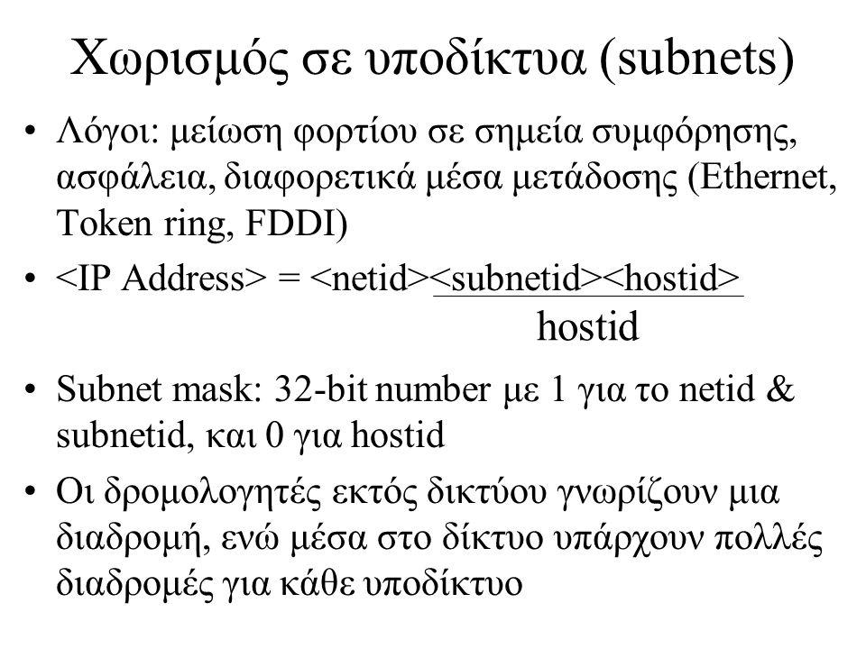 Χωρισμός σε υποδίκτυα (subnets)