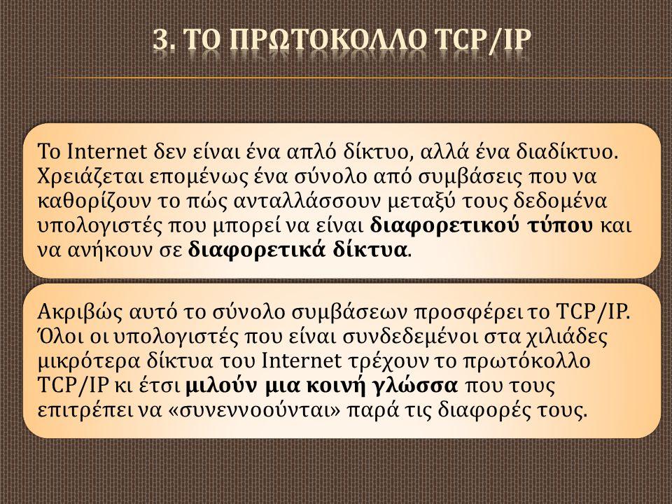 3. ΤΟ ΠΡΩΤΟΚΟΛΛΟ TCP/IP