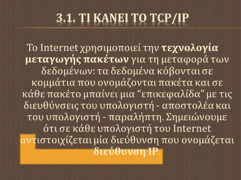 3.1. Τι κΑνει το TCP/IP