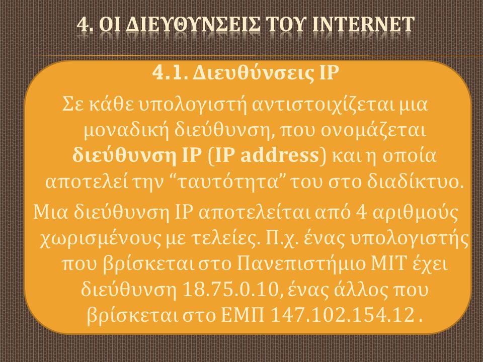4. ΟΙ ΔΙΕΥΘΥΝΣΕΙΣ ΤΟΥ INTERNET