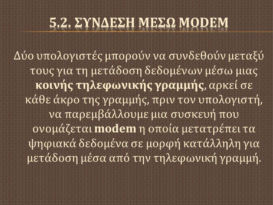 5.2. ΣΥνδεση μΕσω modem