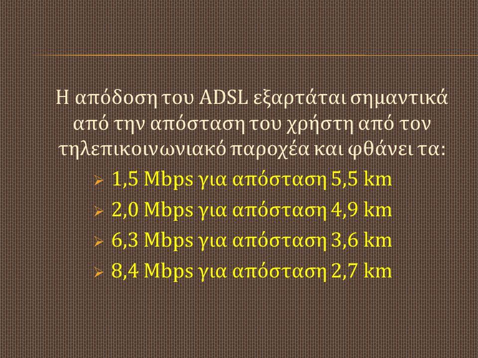 Η απόδοση του ADSL εξαρτάται σημαντικά από την απόσταση του χρήστη από τον τηλεπικοινωνιακό παροχέα και φθάνει τα: