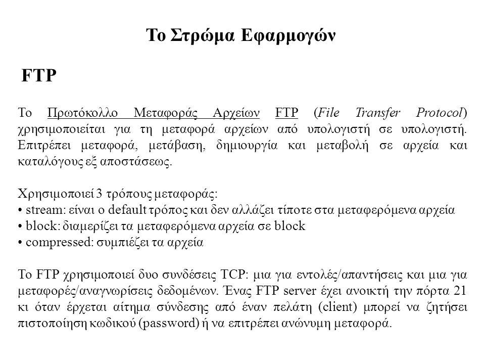 Το Στρώμα Εφαρμογών FTP