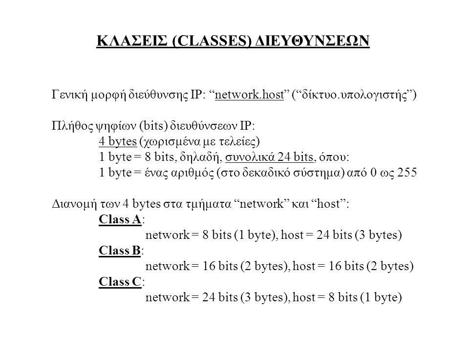 ΚΛΑΣΕΙΣ (CLASSES) ΔΙΕΥΘΥΝΣΕΩΝ