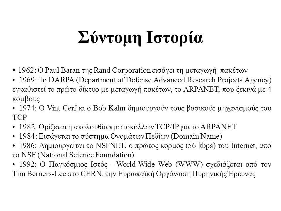 Σύντομη Ιστορία 1962: Ο Paul Baran της Rand Corporation εισάγει τη μεταγωγή πακέτων.
