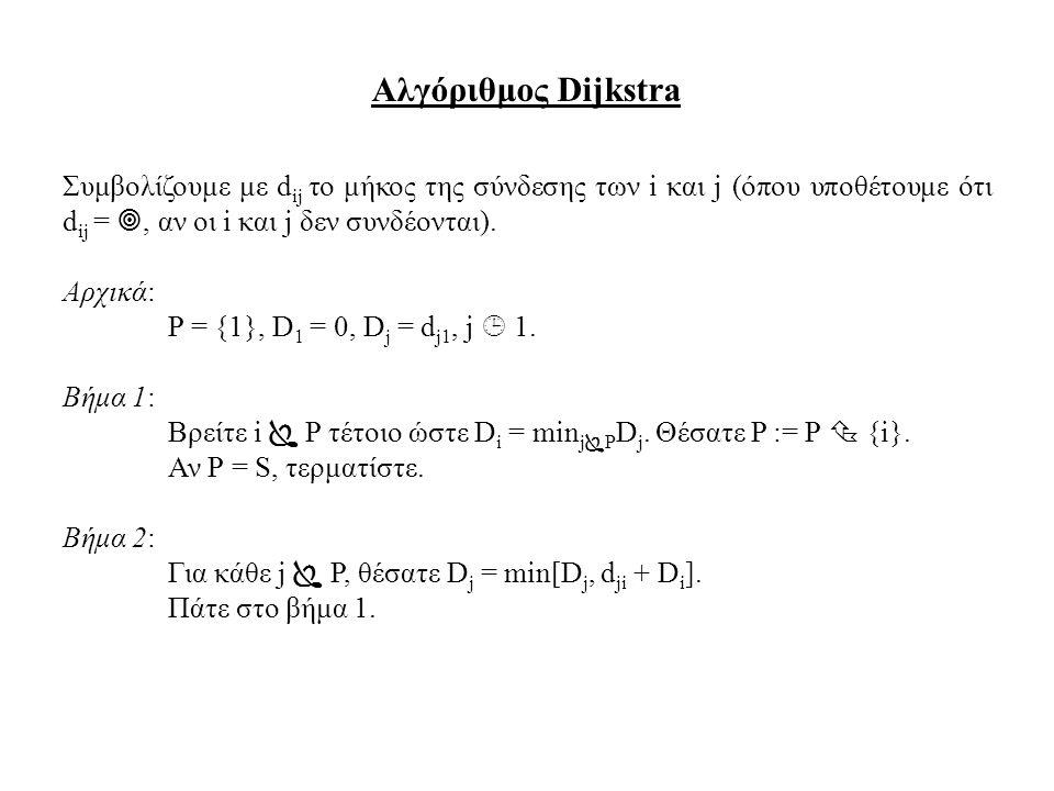 Αλγόριθμος Dijkstra Συμβολίζουμε με dij το μήκος της σύνδεσης των i και j (όπου υποθέτουμε ότι dij = , αν οι i και j δεν συνδέονται).