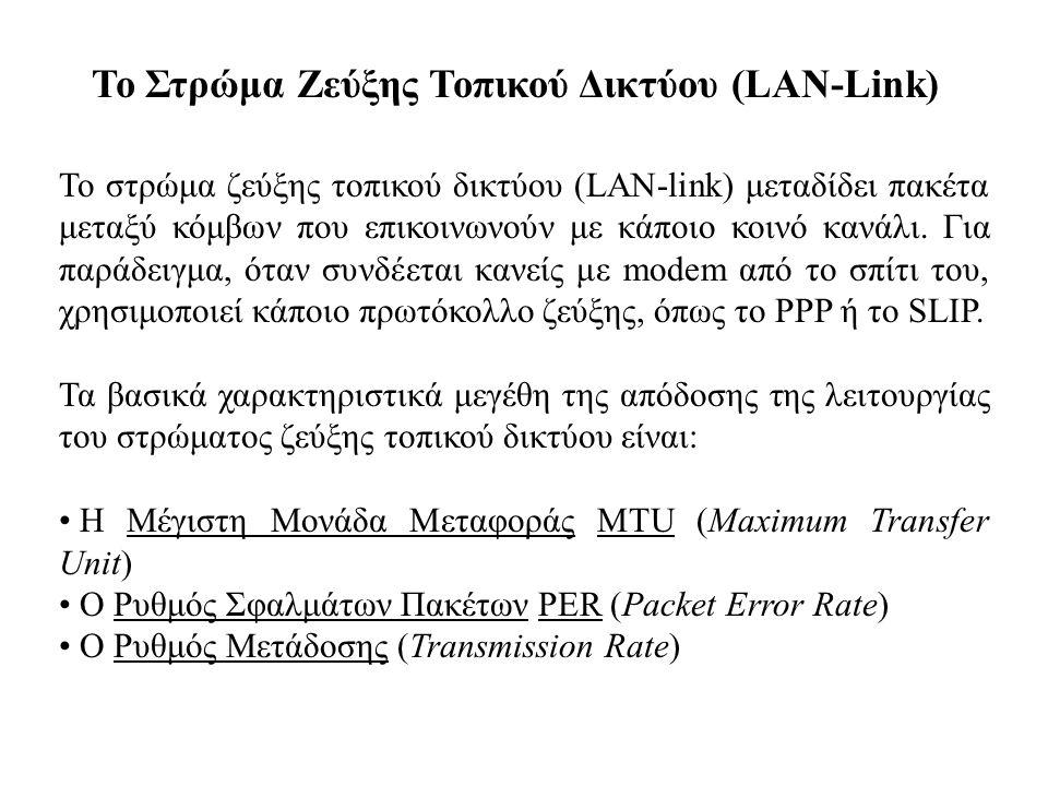 Το Στρώμα Ζεύξης Τοπικού Δικτύου (LAN-Link)