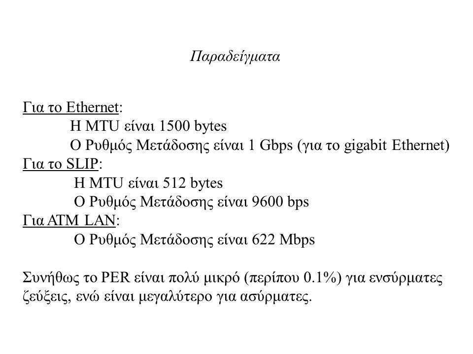Παραδείγματα Για το Ethernet: Η MTU είναι 1500 bytes. Ο Ρυθμός Μετάδοσης είναι 1 Gbps (για το gigabit Ethernet)