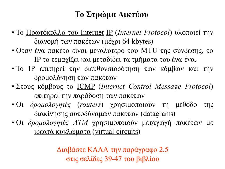 Το Στρώμα Δικτύου Το Πρωτόκολλο του Internet IP (Internet Protocol) υλοποιεί την διανομή των πακέτων (μέχρι 64 kbytes)