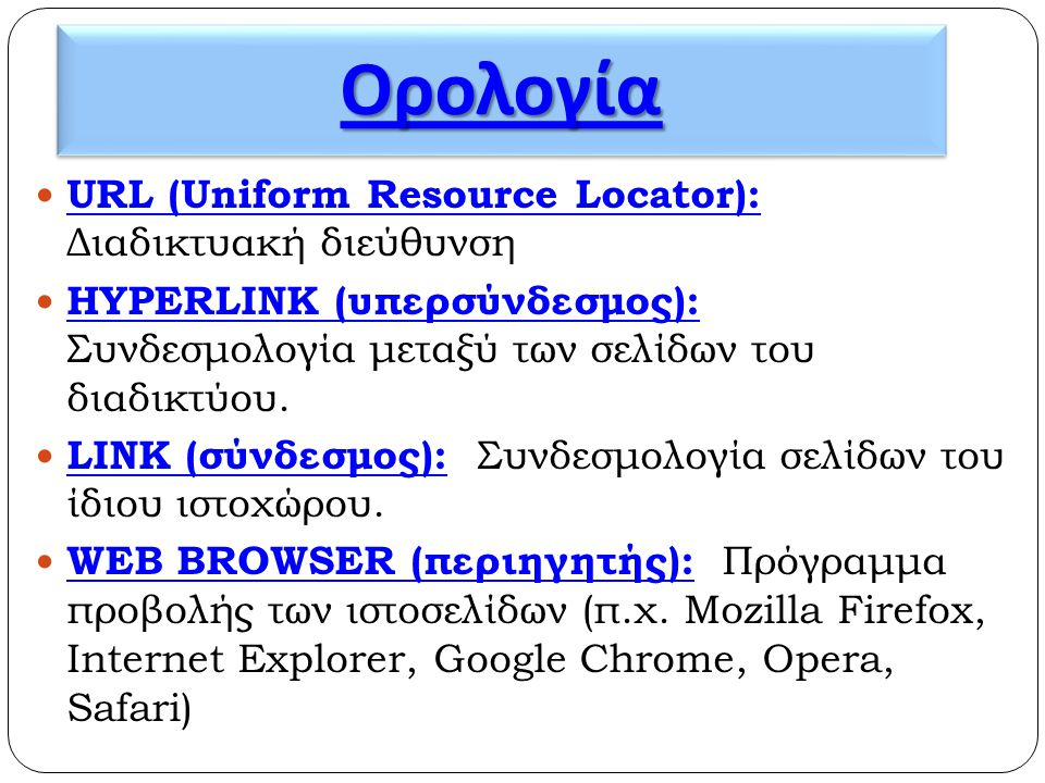 Ορολογία URL (Uniform Resource Locator): Διαδικτυακή διεύθυνση