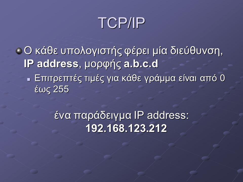 ένα παράδειγμα IP address: 192.168.123.212
