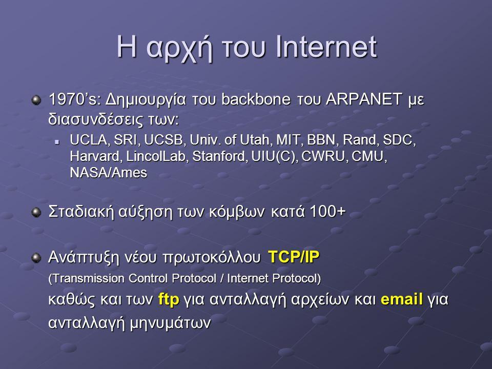 Η αρχή του Internet 1970's: Δημιουργία του backbone του ARPANET με διασυνδέσεις των: