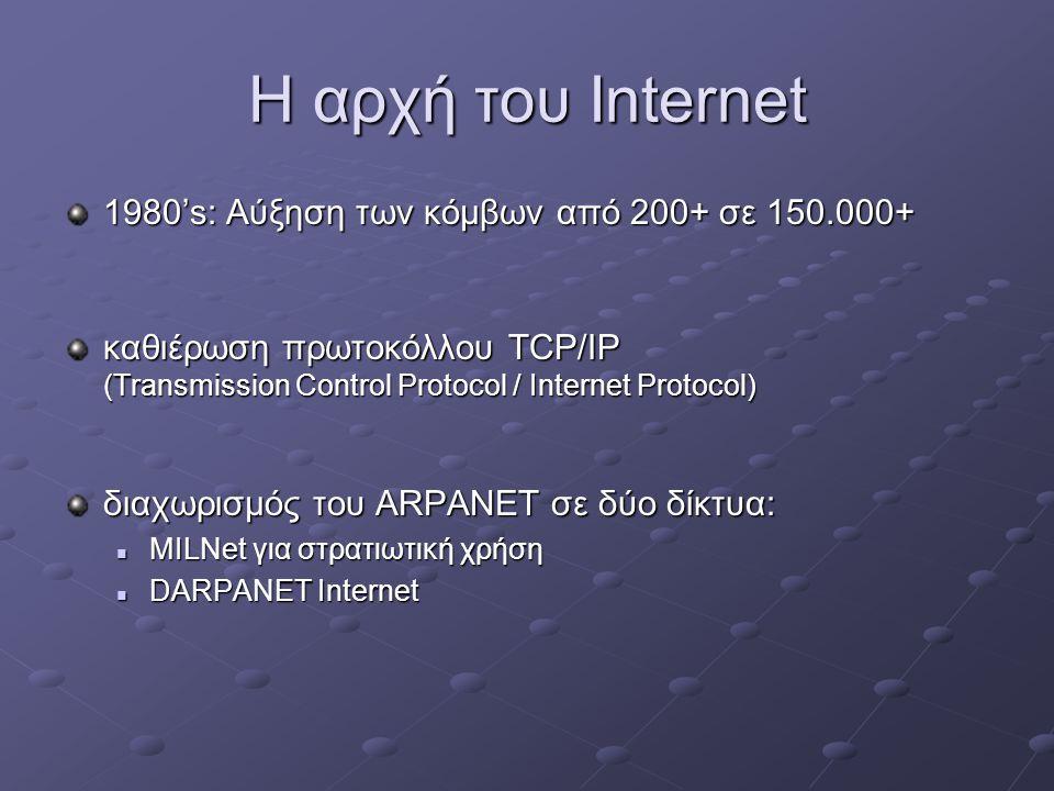 Η αρχή του Internet 1980's: Αύξηση των κόμβων από 200+ σε 150.000+