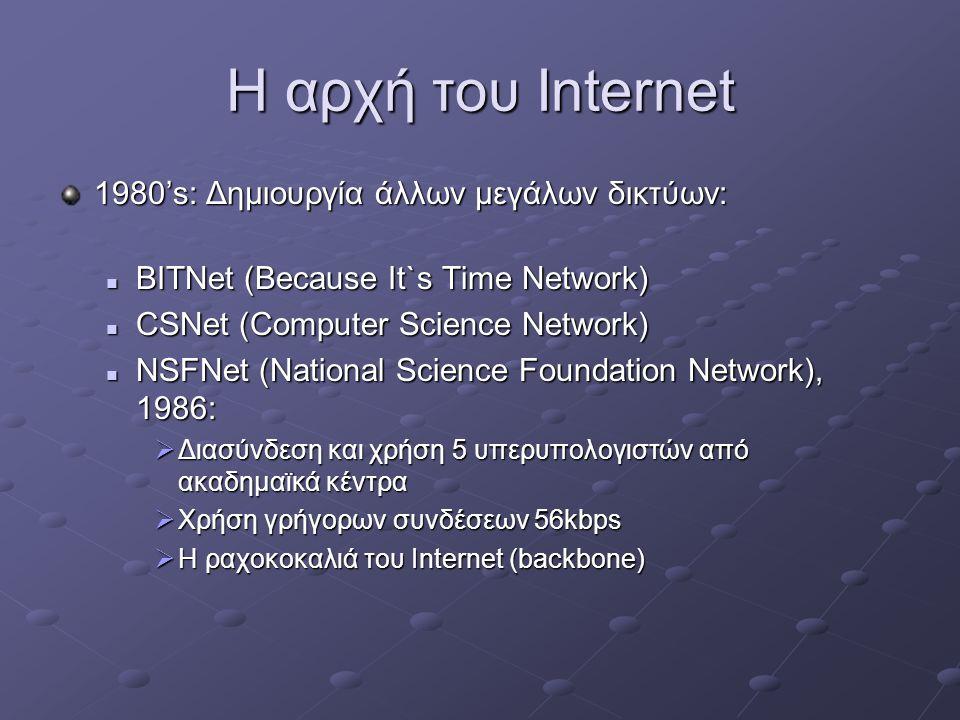 Η αρχή του Internet 1980's: Δημιουργία άλλων μεγάλων δικτύων:
