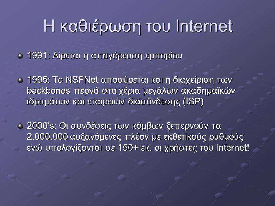 Η καθιέρωση του Internet