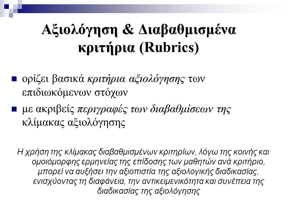 Αξιολόγηση & Διαβαθμισμένα κριτήρια (Rubrics)