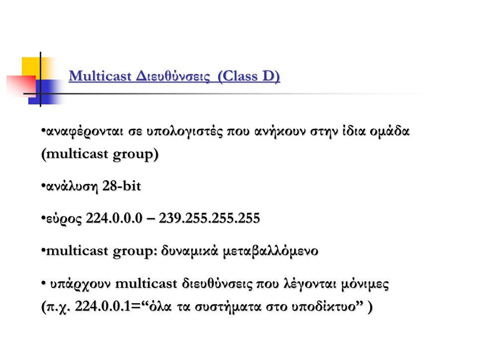 Multicast Διευθύνσεις (Class D)