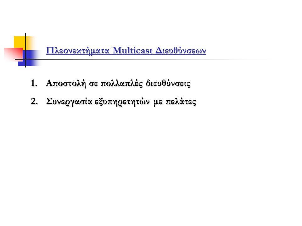 Πλεονεκτήματα Multicast Διευθύνσεων