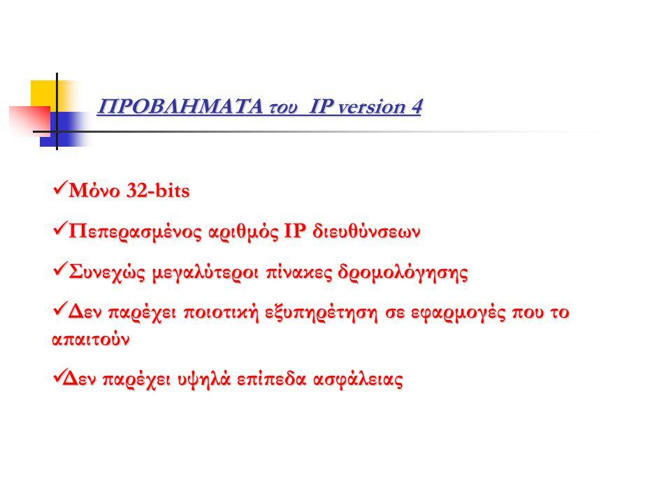 ΠΡΟΒΛΗΜΑΤΑ του IP version 4