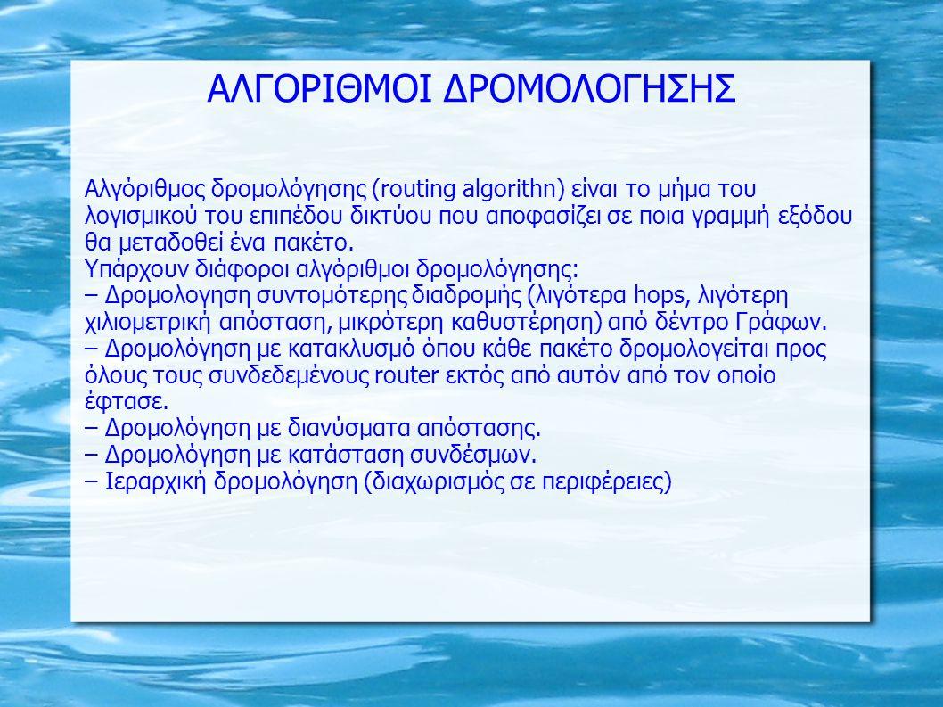 ΑΛΓΟΡΙΘΜΟΙ ΔΡΟΜΟΛΟΓΗΣΗΣ