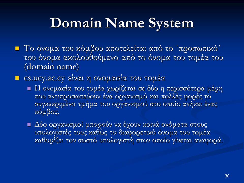 Domain Name System Το όνομα του κόμβου αποτελείται από το ΄προσωπικό΄ του όνομα ακολουθούμενο από το όνομα του τομέα του (domain name)