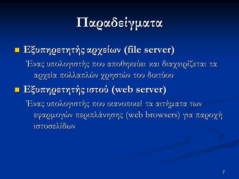 Παραδείγματα Εξυπηρετητής αρχείων (file server)