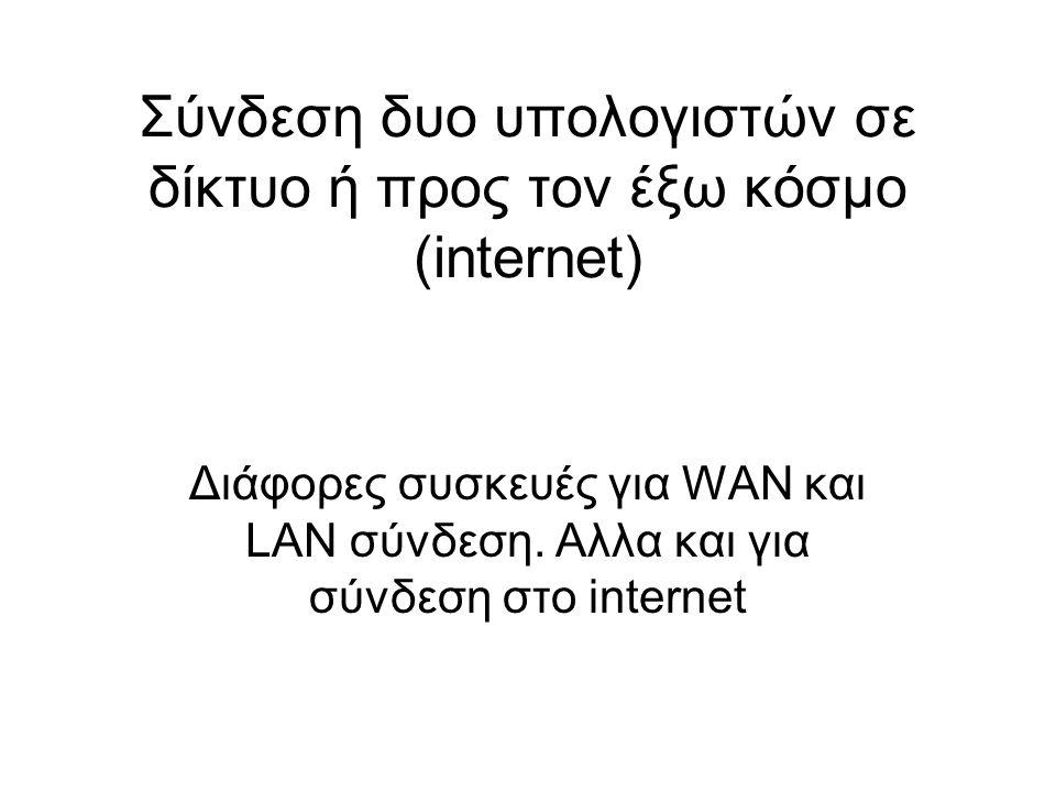 Σύνδεση δυο υπολογιστών σε δίκτυο ή προς τον έξω κόσμο (internet)