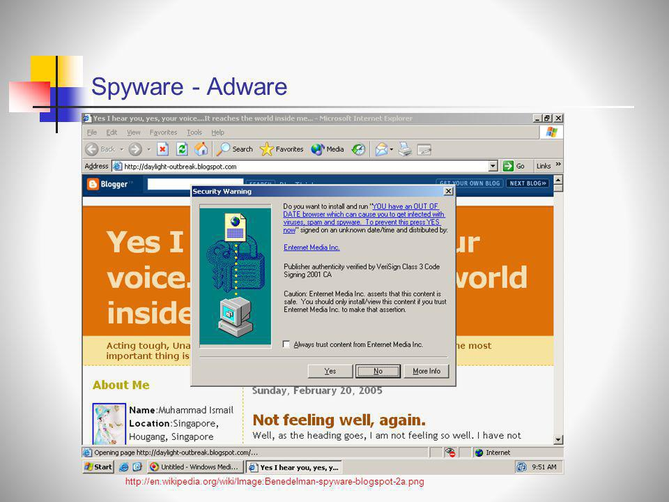Spyware - Adware http://en.wikipedia.org/wiki/Image:Benedelman-spyware-blogspot-2a.png