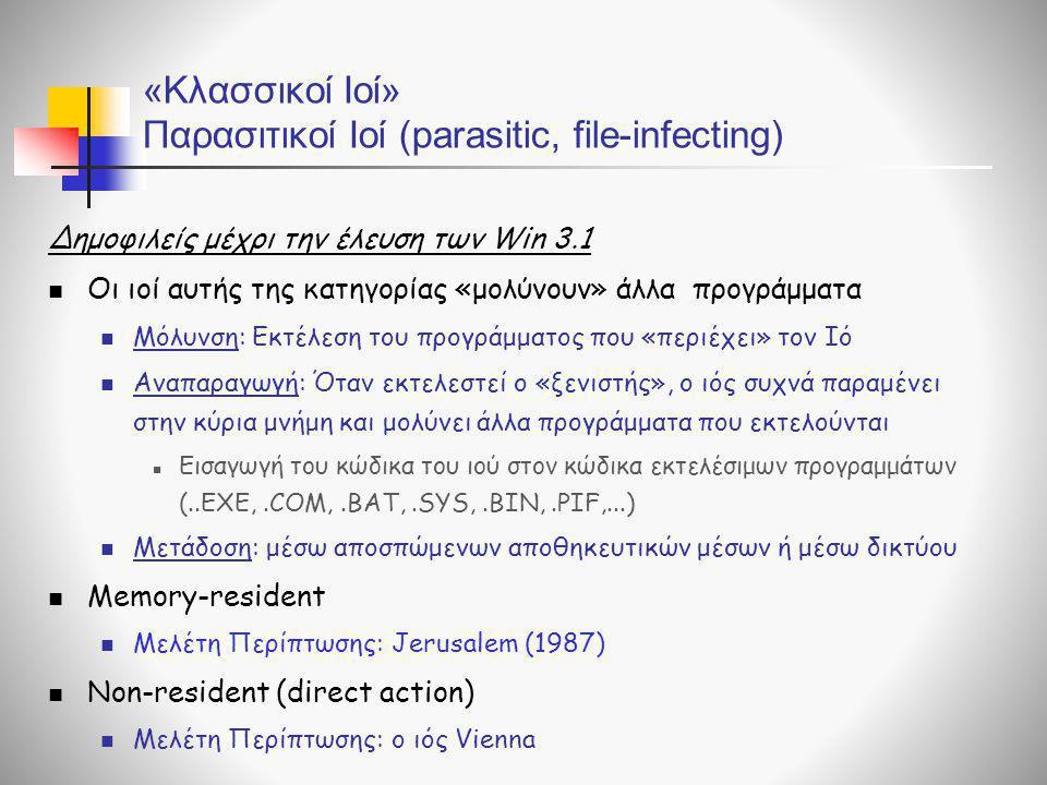 «Κλασσικοί Ιοί» Παρασιτικοί Ιοί (parasitic, file-infecting)